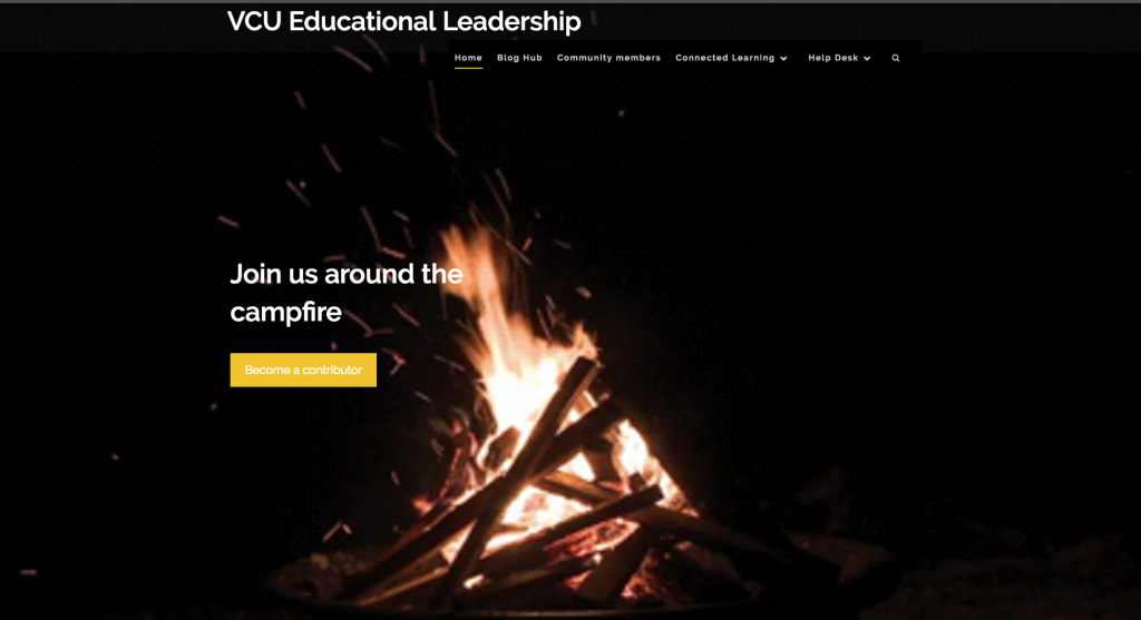 Educational Leadership Hub screenshot showing a campfire
